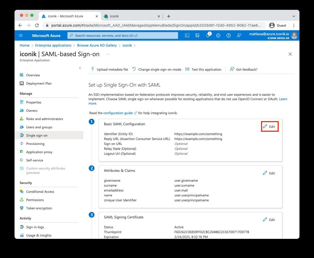 Azure SAML settings