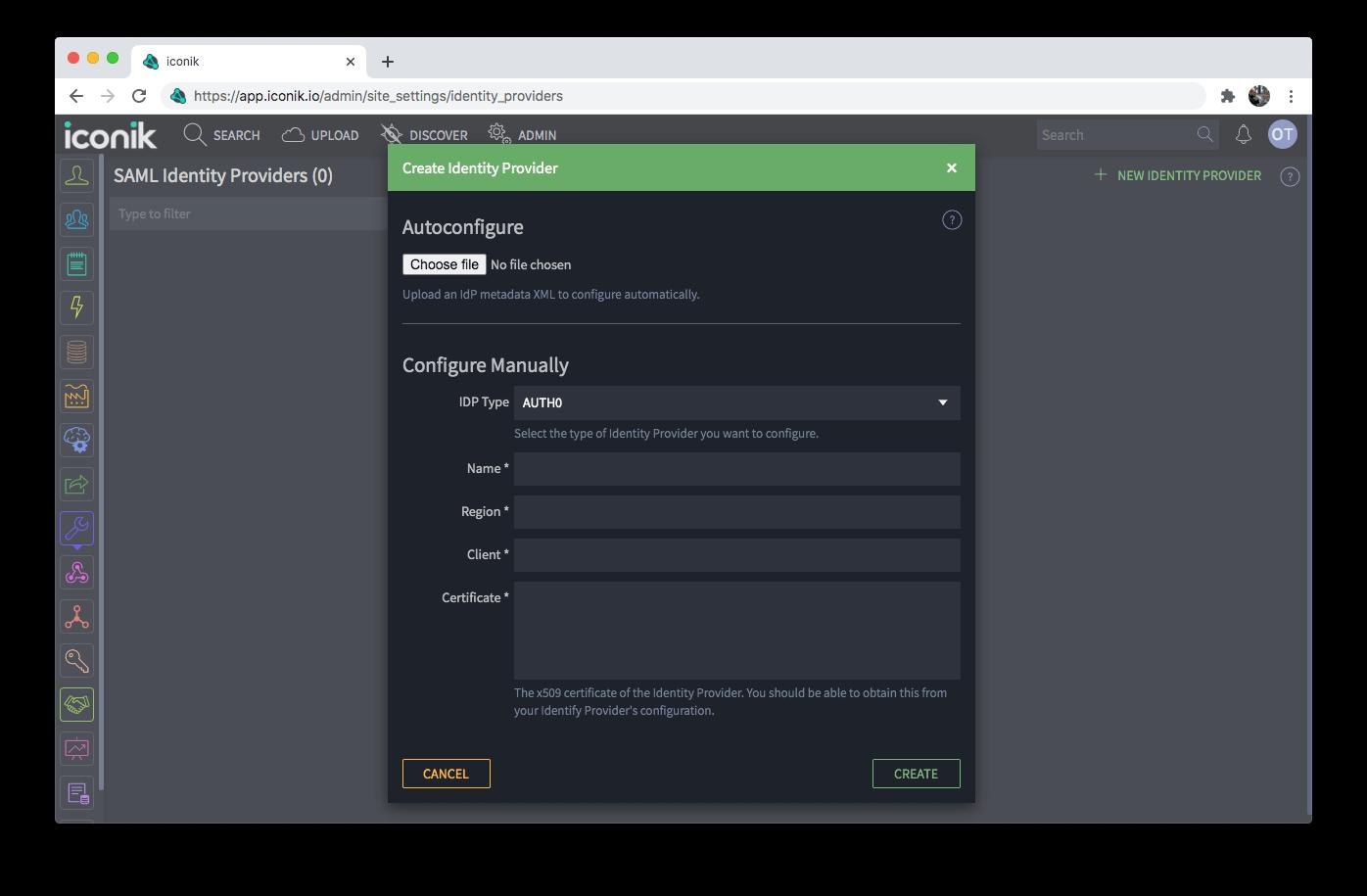 Identity Provider empty form