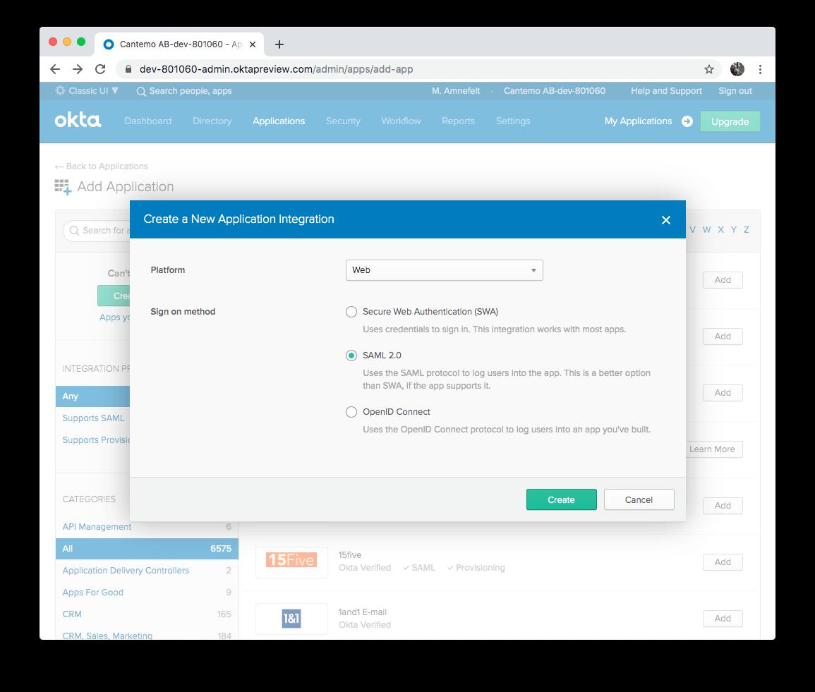 OKTA Create New Application