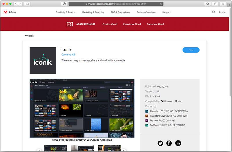 iconik Panel in Adobe Exchange
