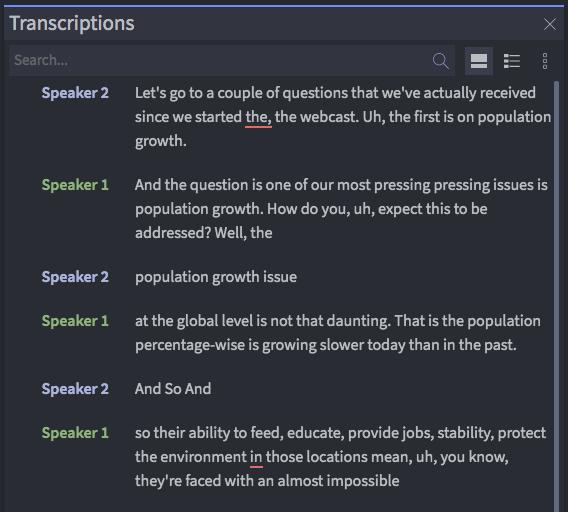 Asset Page Transcriptions Panel